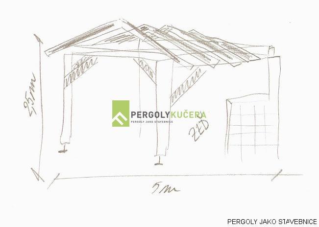 Technický nákres pergoly