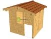 Zahradní domek se sedlovou střechou.